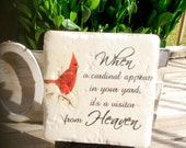 When a cardinal appears in your yard ~ ceramic tile with stand included