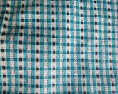 35w Antique VINTAGE Teal Blue Brown Checkered Gingham Cotton FABRIC 4 yards