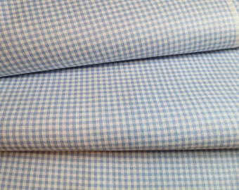 36.5W Vintage BLUE Gingham TINY Check Cotton Fabric 2.5 yards