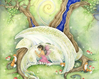 At Rest - Fairy Art Original Watercolor Painting - fantasy. whimsical. woodland. animal. cute. forest. wild.