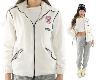 Vintage 80s ADIDAS Canada Track Jacket White Terry Cloth Zipper Jacket Warmup Suit Athletic Sports 1980s Medium M
