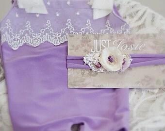 Purple. Flower Tieback. Jersey Tieback. Pearl. Cream. Photography Prop Newborn. Afton. Tolola Designs.