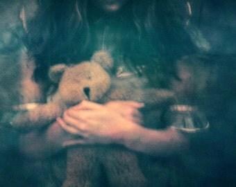 holga, medium format, film, film camera, teddy bear, green, analog 4x5, 8x0, 11x14