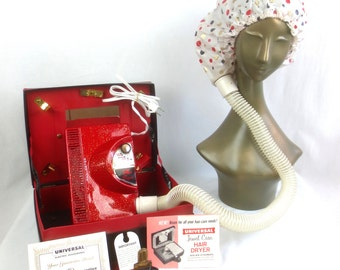 Vintage 1960's Universal Jewel Case Portable Hair Dryer & Nail Dryer in Black and Red Travel Case