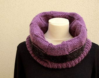 Knitted Neckwarmer - Purple and Black Neckwarmer - Handmade by T. Catana - Made to Order: 4-6 business days.