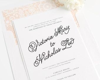 Script Wedding Invitation - Shell, Light Peach, Decorative, Delicate, Sweet - Romantic Wedding Invite - Lovely Script Wedding Invitation
