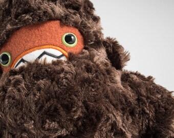 Woolly Yeti Plush...chocolate with rusty orange face!