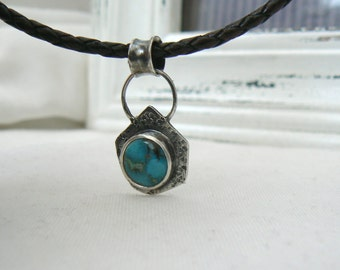 BOHEME - Sterling silver and Turquoise Pendant with brown leather necklace