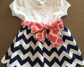 Love Chevron - Little Girls Dress