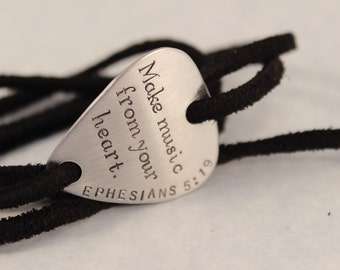 Custom, Hand stamped Guitar Pick leather wrap bracelet - great gift for musicians, music lover