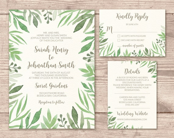 Garden Wedding Invitations: Printable Wedding Invitation Suite / Vintage / Garden Wedding