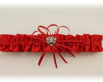 Red Satin Wedding Toss Garter with Heart Charm, Bridal Garter, Valentine Garter