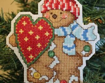 Handmade Cross Stitch Gingerbread Christmas Ornament