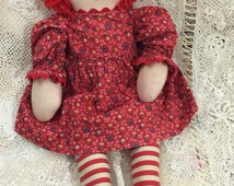 """Raggedy Ann Doll 21"""" tall rag doll good vintage condition no holes no rips no repairs comes exactly as shown, live in her heart included"""