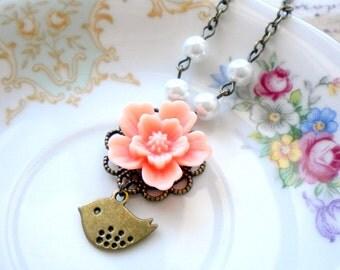 Flower Girl Necklace Peach Necklace Flower Girl Gift Children Jewelry Romantic Bird Necklace Flower Girl Wedding Jewelry Baby Girl Necklace