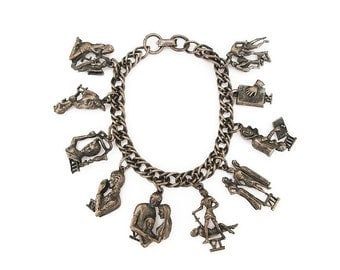 Coro Ten Commandments Charm Bracelet - Bible Biblical, Religious Jewelry, Vintage Bracelet, Vintage Jewelry