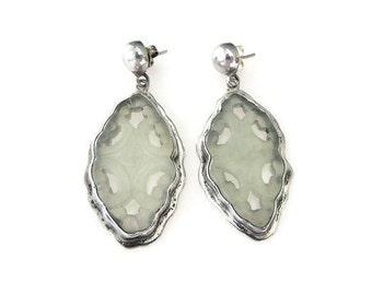 Sterling Jade Earrings, Mexican Sterling, Mexico 925, Nephrite Jade, Carved Jade, Dangle Drop, Vintage Earrings, Vintage Jewelry