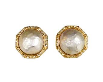 Ciner Pearl Rhinestone Earrings, Gold Tone, Clip On, Designer Vintage Jewelry