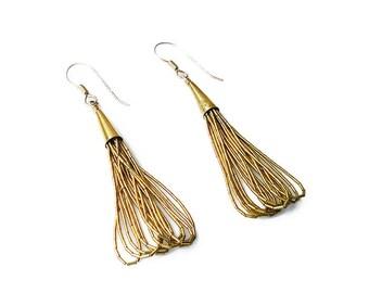 Liquid Silver Earrings, Sterling Silver, Gold Plated, Pierced Earrings, Dangle Drop, Vintage Jewelry