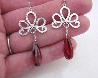 Long Red Earrings -- Red Holiday Earrings -- Sparkling Red Earrings -- Red Cubic Zirconia -- Dark Red & Silver Dangles -- Red CZ Earrings