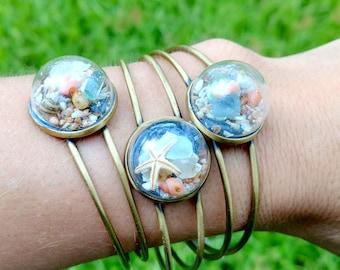 Glass Globe Copper Cuff Bracelet Filled With Beach Treasure