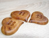 3 Heart Handmade plum  wood large buttons, accessories