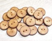 "20 Handmade apple wood Tree Branch Buttons with Bark, accessories (1,0"" diameter x 0,20"" thick)"