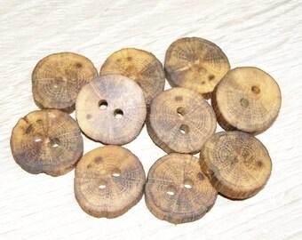 """10 Handmade  oak wood buttons, accessories ( 0,98"""" diameter x 0,20"""" thick)"""