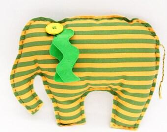 Elephant - Baby Nursery Decor - Yellow/Green Stripes - Stuffed Elephant - Soft Sculpture Toy - Plush Animal Doll - Baby Shower Gift - ETHAN