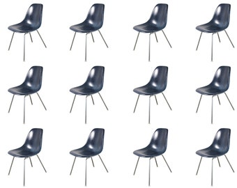 Vintage Navy Blue Eames Fiberglass Shell Chairs