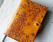 Leather Journal - Spirit Fox and Moonshine - Hand Tooled Leather Diary - Southwestern Sun Moon - Mesa Dreams - Made to Order