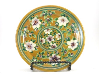 Yellow Dinnerware - Handmade Floral Ceramic Plate - Pottery Dish for Dessert or Bread -White Flower Design