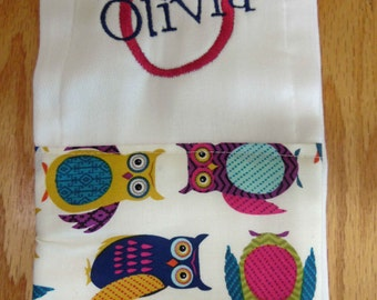 Owl Personalized Monogrammed Baby Burp Cloth - Perfect for a Baby Shower