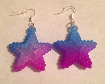 Blue and Purple Star Earrings