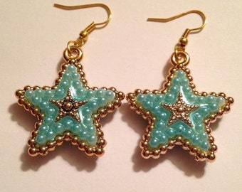 Sky Blue and Gold Star Earrings
