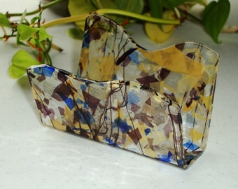 Fused Glass Business Card Holder -  Amber and purple 926