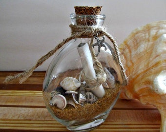 Message In A Bottle - Oval Glass Bottle - Wedding Christmas Valentine's Birthday Gift - Beach Coastal Decor