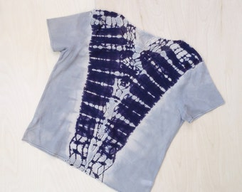 Modern Tie Dye T shirt in Black and Gray Reflections SALE