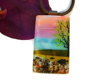 Scenic River Pendant, Necklace, Fused Glass, Dichroic Glass, One of a Kind