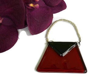 Purse Christmas Ornament, Fused Glass, Red and Black, Christmas Decor, Holiday Decor, Tree Ornament
