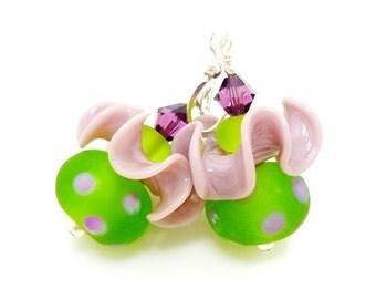 Purple and Green Ruffle Earrings, Polka Dot Earrings, Glass Earrings, Lampwork Earrings, Glass Beads Jewelry, Beadwork Earrings, Fun Earring