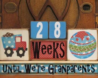 Pregnancy Countdown Blocks, Pregnancy Countdown blocks for Grandparents, Pregnancy Announcement,  Baby Boy,  Baby Shower Gift