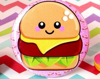 Cheesy Cheeseburger 58mm Fridge Magnet fun food burger home kitchen decor