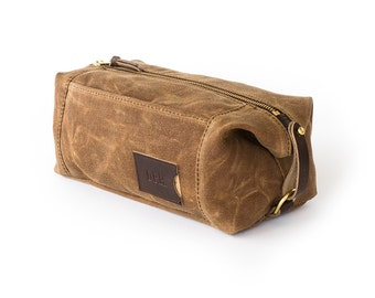 NO. 349 Dopp Kit - Brown Waxed Canvas and Leather Expandable 3 Pockets If Found Card Holder Personalized Gift for Dad Men's Toiletry Bag