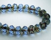 Czech Glass Beads 8mm Sapphire Blue with Picasso Faceted Rondelles 10 Pcs. RON8-577