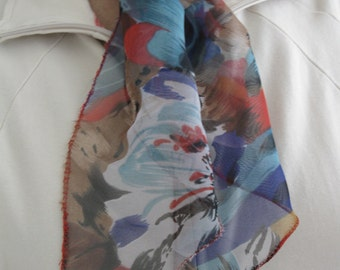 Love Red Chiffon Scarf-Red with Blue Flower