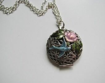 Vintage Romance Filigree and Bird Locket Necklace
