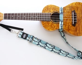 Ukulele Strap, The HUG Strap, No need for Strap Buttons, Butterflies and Blue Flowers, Hands Free Uke Strap