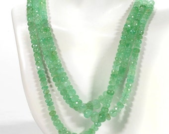 ON SALE Columbian Emerald Rondelles Beads Faceted Emerald Rondels Roundels Beryl May Birthstone Earth Mined - 7.5 or 15-Inches - 4.5 to 7mm