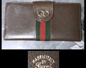Vintage GUCCI Leather Classic Striped Logo Wallet SALE was 45.00